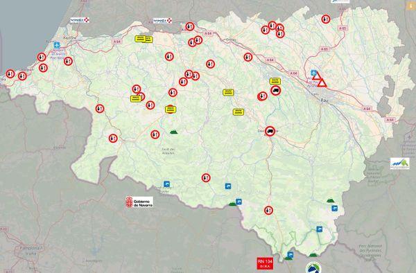 Etat du réseau routier dans les Pyrénées-Atlantiques ce mercredi 13 juin