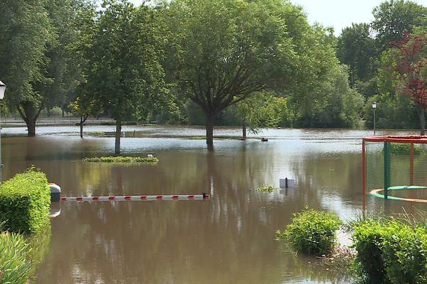 Inondations à Guignicourt dans l'Aisne, le 20 juillet 2021.