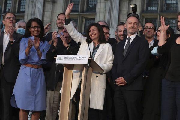 Anne Hidalgo au soir de sa victoire à Paris.