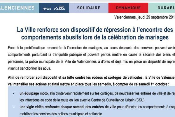 Extrait du communiqué diffusé par la mairie de Valenciennes