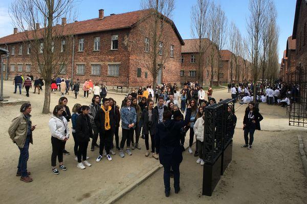 Les élèves du lycée de La Communication découvrent le camp de concentration d'Auschwitz 1, vendredi 5 avril 2019.