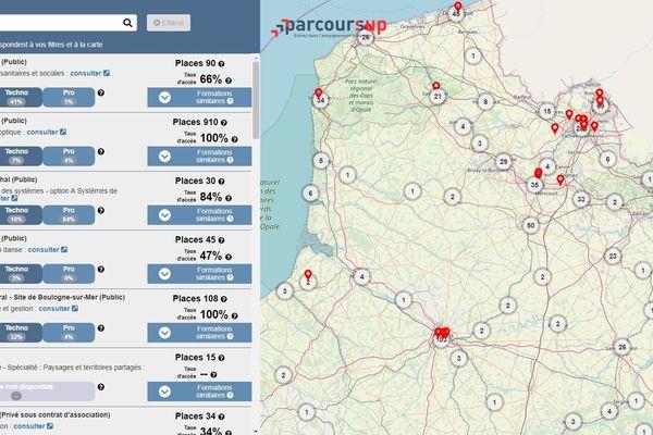 Carte interactive Parcoursup