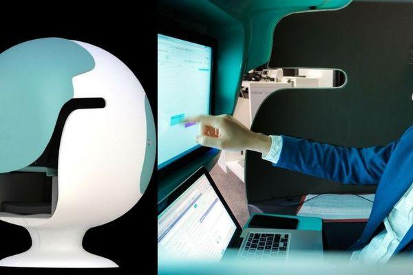 Gaspard Broustine dans l'e-Bulle, le bureau connecté et immersif qu'il a inventé.