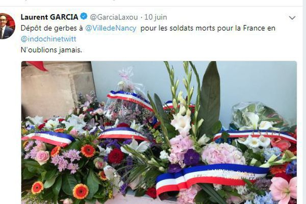 """capture d'écran du tweet """"Indochine"""" du député de Meurthe-et-Moselle, Laurent Garcia, samedi 9 juin 2018."""