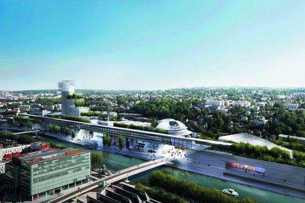 Ce projet propose une tour de 110 mètres de haut, un belvédère public. Au centre de l'Ile, le jardin sous verrière sera légèrement réduit pour laisser plus de place à la galerie commerçante. Des équipements sportifs ( 4500 m2 côté Meudon), un hôtel et une structure dédiée à l'art contemporain sont prévus. Superficie constructible: 255 000 M2.