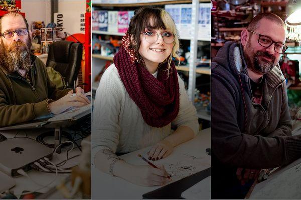 A gauche, Christian Rolle, coloriste, au centre, Sarah Peronnet, jeune talent originaire des Ardennes et à droite, Thomas Labourot, dessinateur.