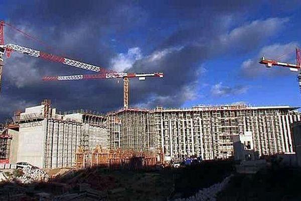 Montpellier - le chantier de la future université de médecine - janvier 2016.