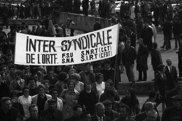 29 mai 1968 : manifestation de l'intersyndicale de l'ORTF à Rennes.