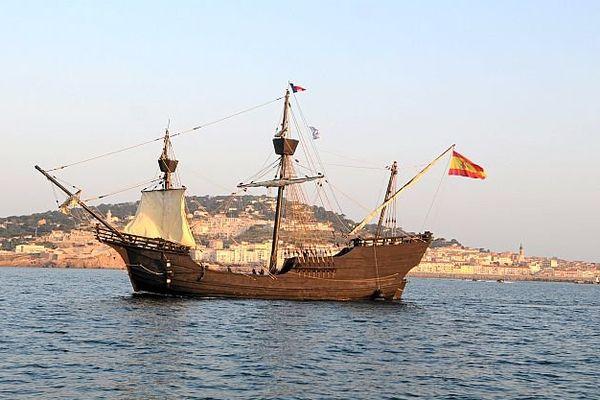 Sète (Hérault) - le Nao Victoria est une caravelle, le premier navire à avoir fait le tour du monde au XVIe siècle. - 22 mars 2016.