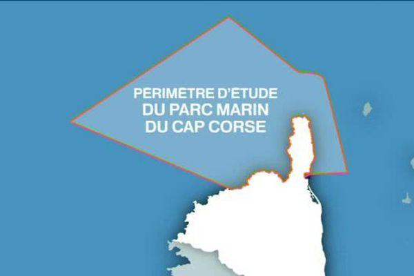 Périmètre d'étude du parc marin du cap Corse