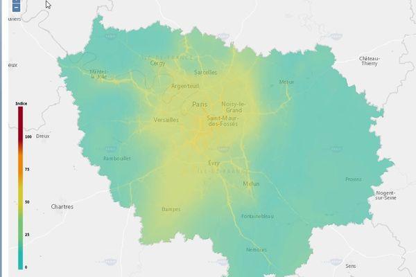 Carte de la pollution de l'air le 1er janvier 2021