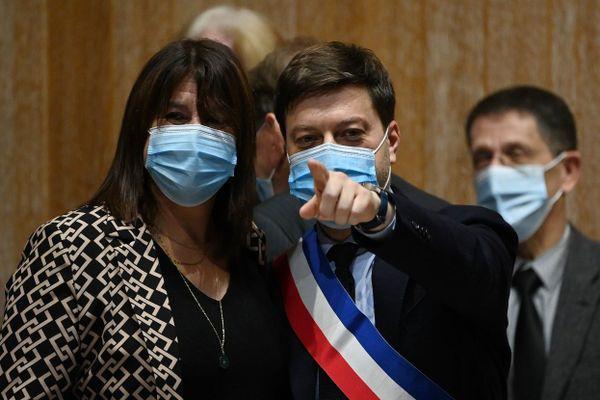 Michel Rubirola et Benoît Payan lors du conseil municipal de Marseille, le 21 décembre 2020.