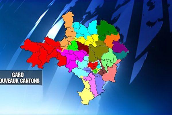 Carte des nouveaux cantons dans le Gard élections départementales