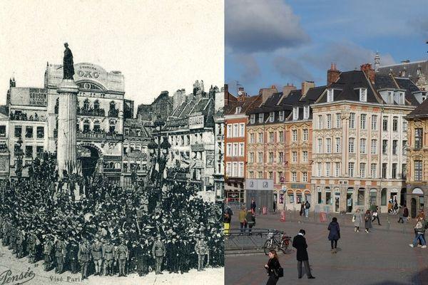 La Grand Place en 1918 et en 2019.
