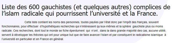 Capture d'écran du blog sur lequel figurent les noms des 600 chercheurs