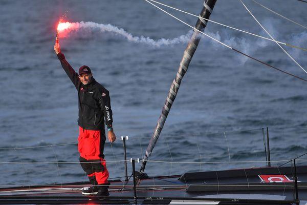 Le skipper Jérémie Beyou arrive premier du  Vendée-Arctique-Les Sables, mardi 14 juillet 2020