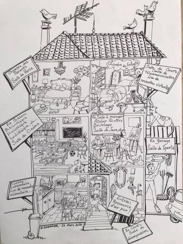 """""""Adaptation temporaire"""" est l'un des derniers dessins proposé par Hélène Gueffier sur sa page."""