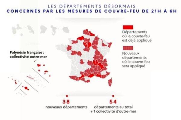 Trente-huit nouveaux départements français sont concernés par les mesures de couvre-feu.