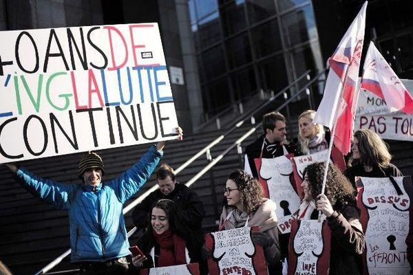 Une manifestation pour défendre les droits des femmes le 17 janvier 2015, à l'occasion du 40e anniversaire de la loi Veil qui a légalisé l'avortement en France.