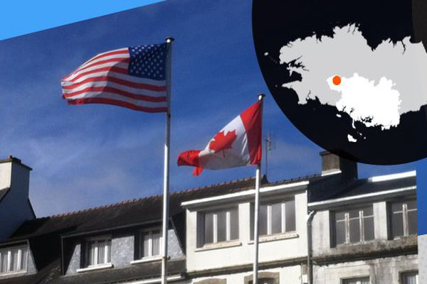 Drapeaux canadiens et américains dans le ciel de Gourin