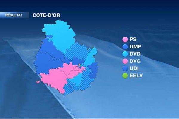La carte des cantons de Côte d'Or à l'issue du 2e tour des élections départementales de mars 2015