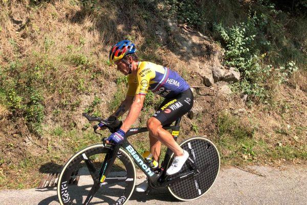 Primoz Roglic, le maillot jaune du Tour de France, à l'entraînement près de Grenoble