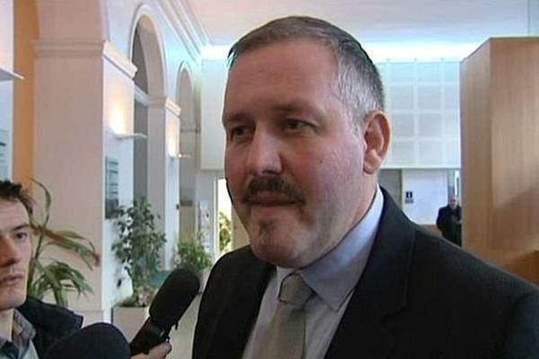 Patrick Bunel, ex-directeur du Musée Airborne de Saint-Mère-Eglise, lors de son procès au tribunal de Cherbourg le 14 janvier 2014