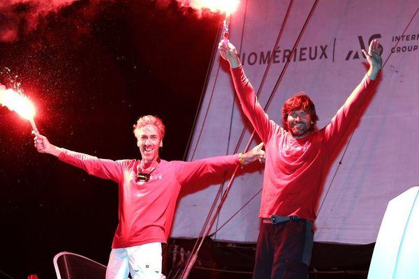 Les heureux gagnants de la Transat Jacques Vabre : Gilles Lamiré et Antoine Carpentier