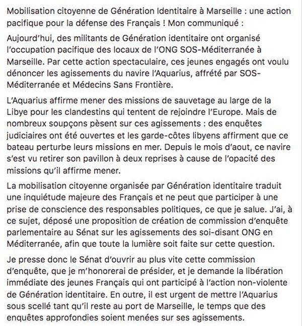 Contenu du Tweet de Stéphane Ravier