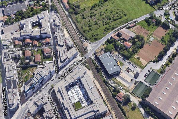 Le passage à niveau n°39 sur l'avenue Marcel Dassault à Castelnau-le-Lez (Hérault)