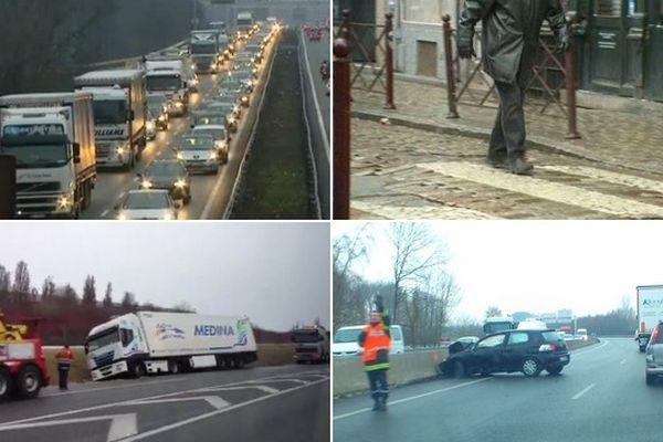 Accidents, bouchons et chutes dans le Nord Pas-de-Calais.