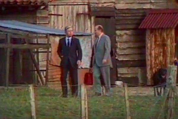 Le chancelier allemand Helmut Schmidt et François Mitterrand à Latche en octobre 1981