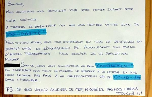 Marseille. Réponse au petit mot doux adressé à deux soeurs, pompier et aide-soignante, pour leur demander de déménager par peur du coronavirus.