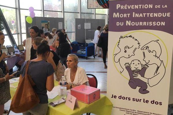 Lors de la journée de prévention concernant la Mort Inattendue du Nourrisson, au cœur du CHU de Montpellier. / 17 septembre 2019.