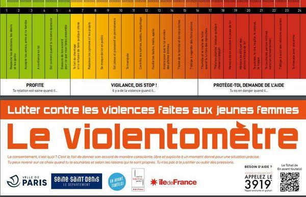 Présenté sous forme de règle, le violentomètre rappelle ainsi ce qui relève ou non des violences à travers une gradation colorée.