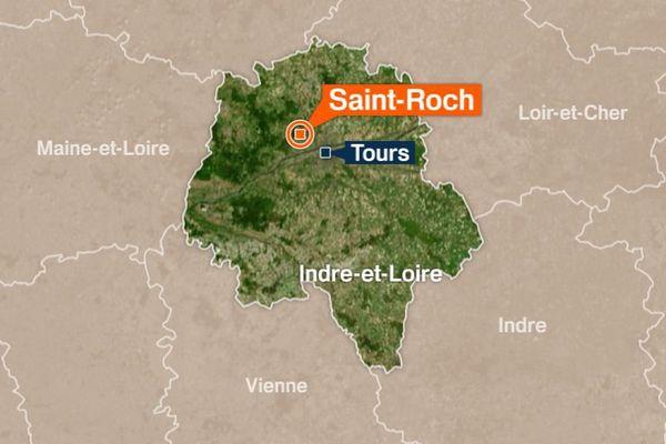 C'est sur la commune de Saint-Roch en Indre-et-Loire que le motard repose avec sa moto