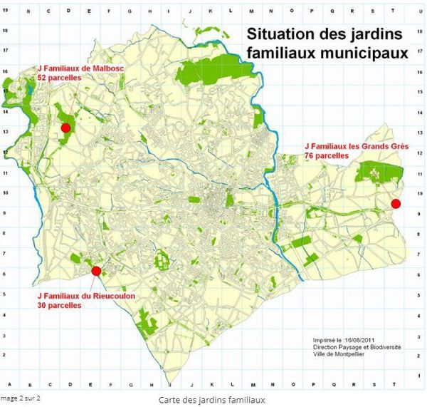 Carte des jardins familiaux de la commune de Montpellier dans l'Hérault