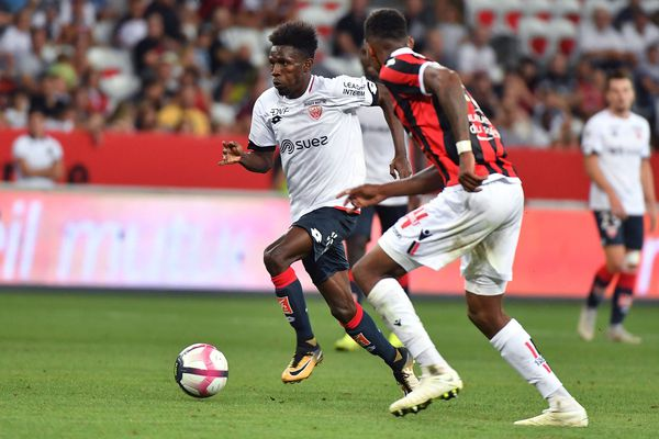 Jules Keita, nouvelle recrue de Dijon, a inscrit un doublé contre Nice.