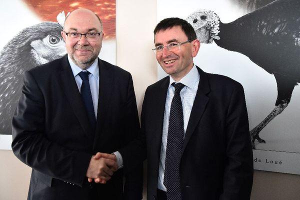 Stéphane Travert, ministre de l'Agriculture et Denis Lambert, PDG du groupe LDC