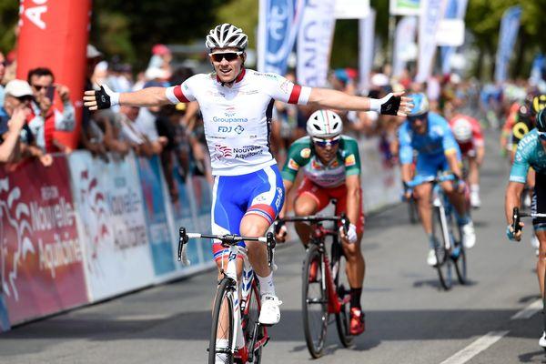 Arrivé ede la 5e étape avec Arnaud Démare (Groupama-FDJ)