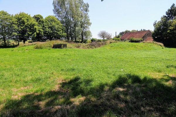 Sous cette butte couverte de végétation, un ancien abri de la base aérienne d'Audembert.