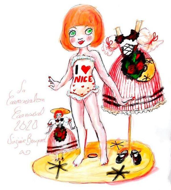 """La carnavalone de Virginie Broquet, la fille du """"roi et de la reine de la mode"""" du carnaval de Nice 2020. Une fille, une première dans l'histoire du carnaval niçois."""
