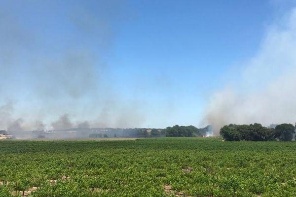 Le feu était visible depuis l'A709, à hauteur de Saint-Aunès