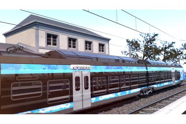 """Longs de 72 mètres, et composé de 4 voitures, ces trains de quatre voitures offriront 218 places assises """"et les mêmes performances dynamiques et de confort que la version bimode électrique-diesel"""", selon ses promoteurs."""