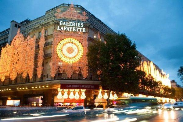 Les Galeries Lafayette, boulevard Haussmann à Paris.