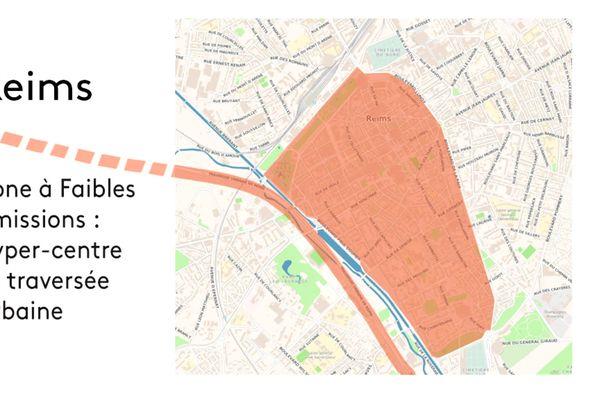 En orange, la zone à faibles émissions à Reims, où les véhicules Crit'Air 3 ne pourront plus circuler les jours de forte pollution.