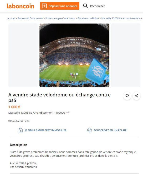 L'annonce humoristique de marseillais sur le site de vente en ligne de bonnes affaires.
