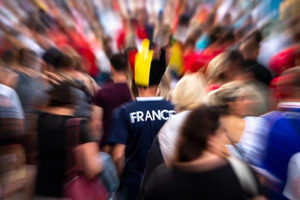 Supporters à Tournai lors du match Uruguay-France