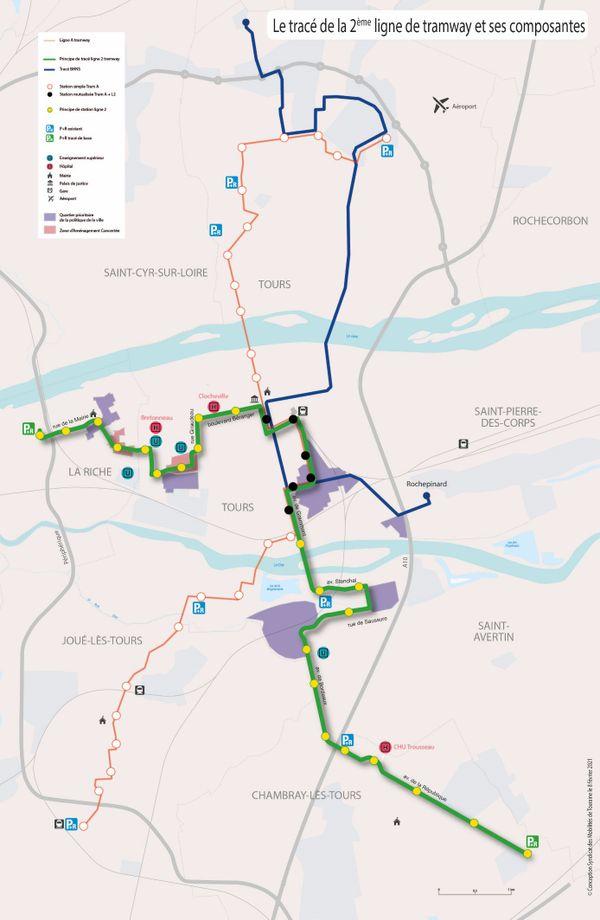 En vert, le tracé de la deuxième ligne de tramway