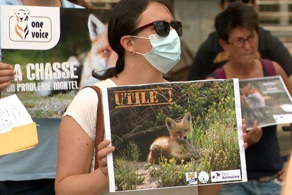 Les associations de défense des animaux se sont rassemblés devant la préfecture de Rouen pour protester contre un décret autorisant l'abattage des renards.
